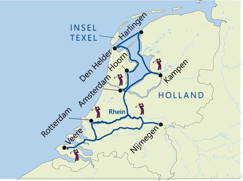 golfplätze holland karte Golf Flussreise Holland & Ijsselmeer  Excellence Countess  GREEN GOLF