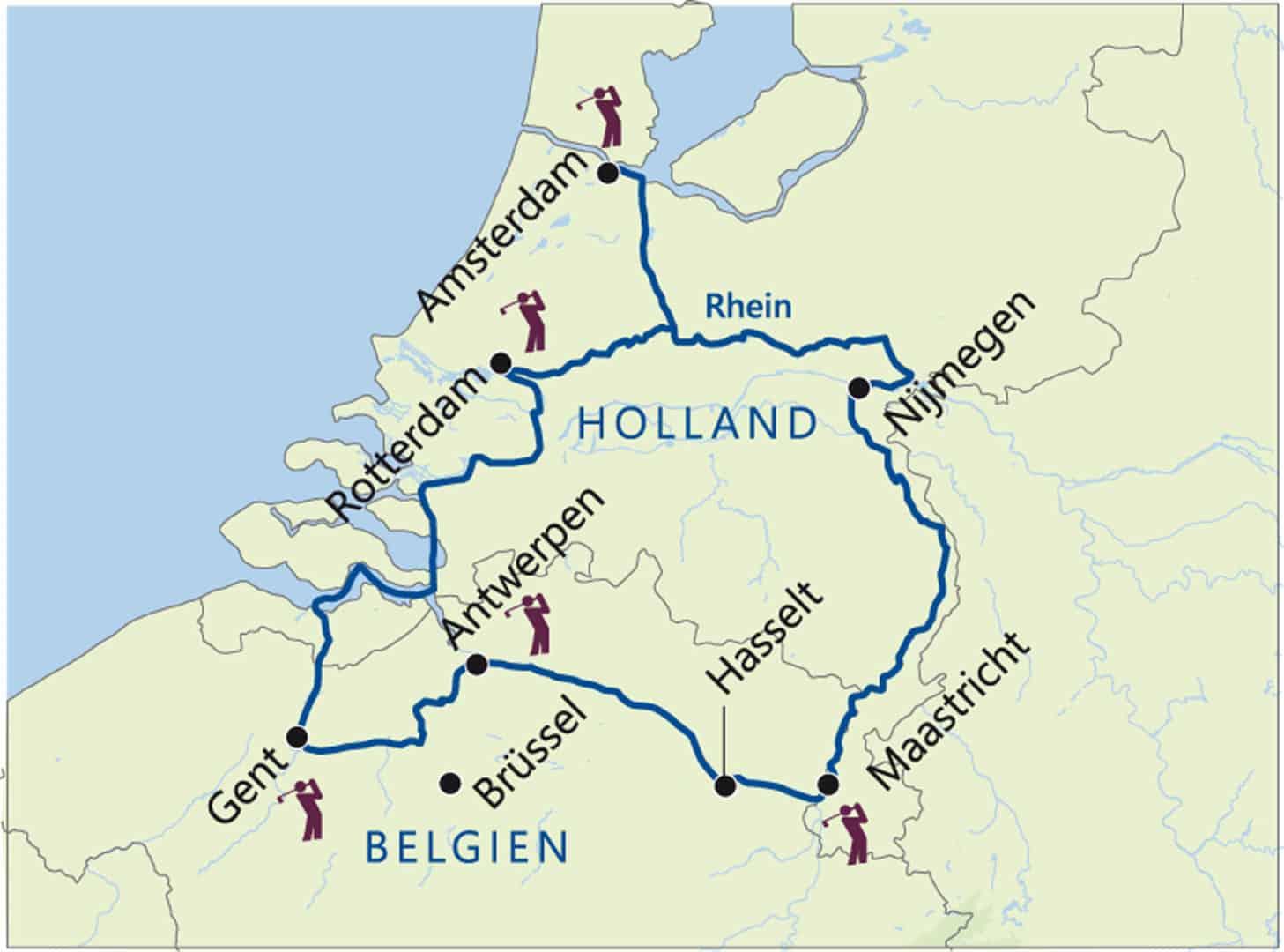 golfplätze holland karte Golf Flussreise Holland & Belgien Excellence Countess   GREEN GOLF