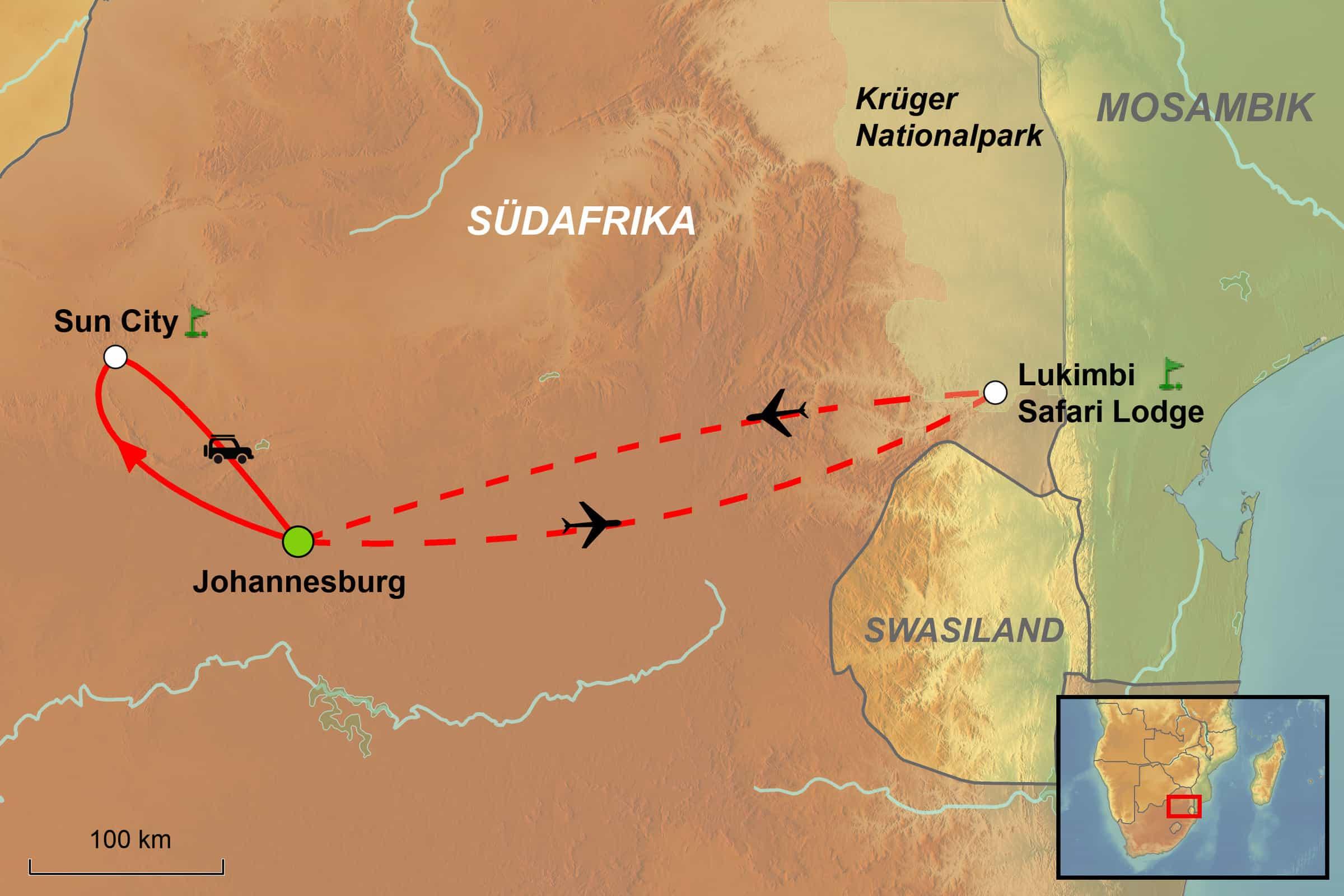 Südafrika Karte Pdf.Golf Rundreise Südafrika Sun City Krüger National Park Green Golf